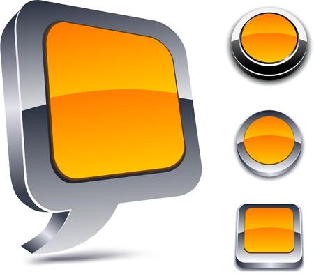 Metallic 3d vibrant orange icons.  Vector