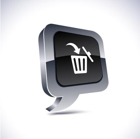 Delete metallic 3d vibrant balloon icon.  Vector