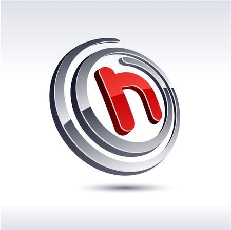 salient:  illustration of 3D h symbol.