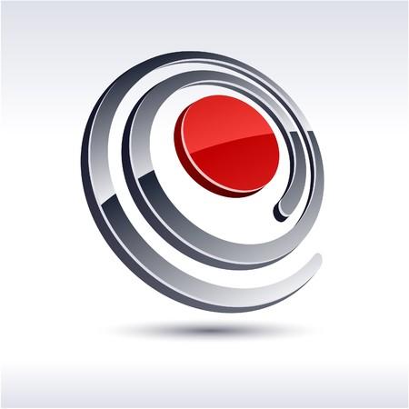 salient: Abstract modern 3d spiral logo.  Illustration