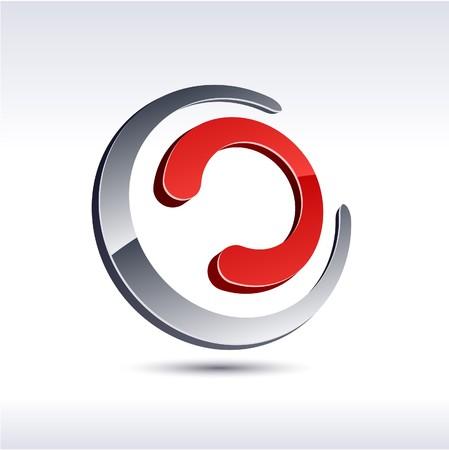 Abstract modern 3d chain logo. Stock Vector - 7329255