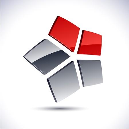 Abstract modern 3d star logo.