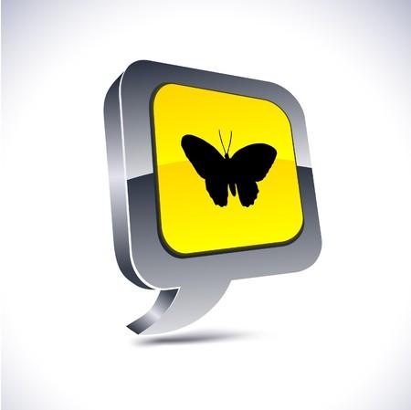 Butterfly metallic 3d vibrant balloon icon. Stock Vector - 7329286