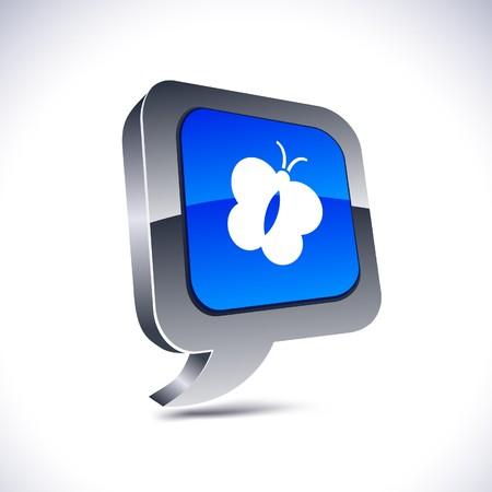 Butterfly metallic 3d vibrant balloon icon. Stock Vector - 7329266