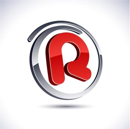 illustration of 3D r symbol.  Vector