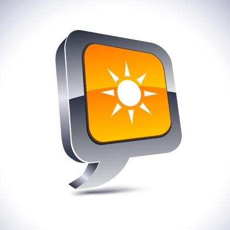 metallic  sun: Sun metallic 3d vibrant balloon icon.