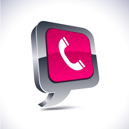Telephone metallic 3d vibrant balloon icon. Stock Vector - 7329333