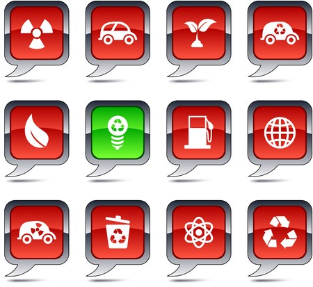 Ecology  set of square balloon icons. Stock Vector - 7329348