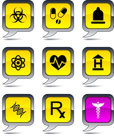 Medical set of square balloon icons. Vector