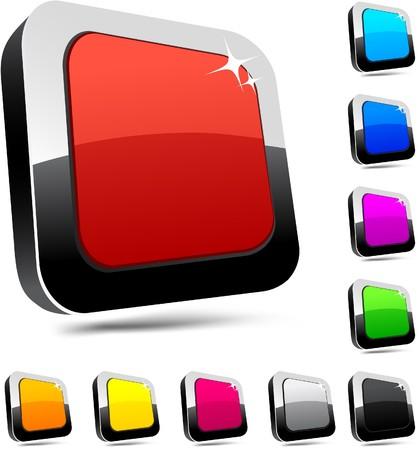 Blank 3d rectangular buttons. Stock Vector - 7338377