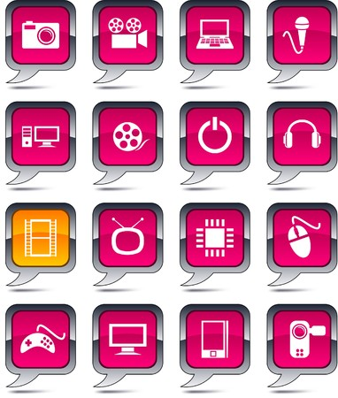 Multimedia set of square balloon icons. Vector