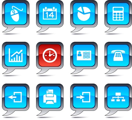 Office set of square balloon icons. Vector