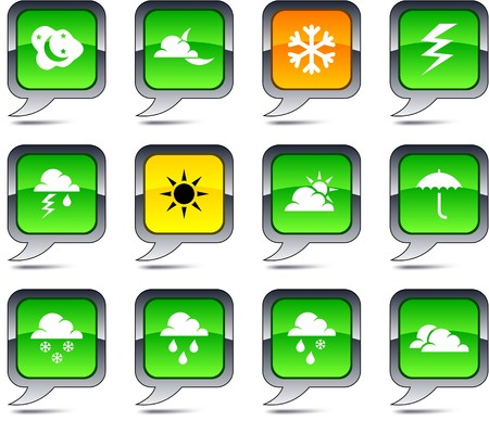 Weather set of square balloon icons. Vector