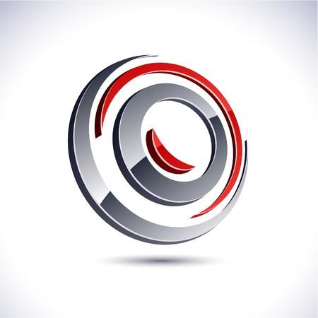 Abstract modern 3d swirl logo.  Vector