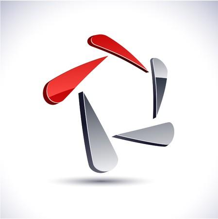 Abstract modern 3d pentagonal logo.