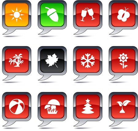 button mushroom: Seasons set of square balloon icons. Illustration