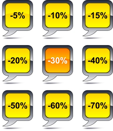 Discount set of square balloon icons. Vector
