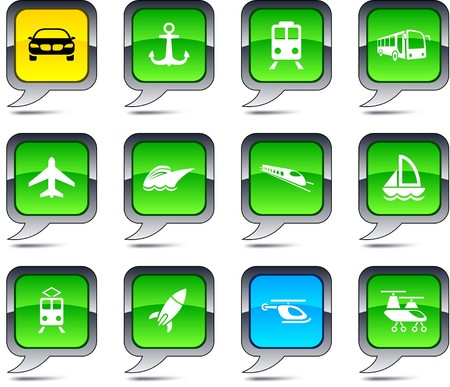 Transport set of square balloon icons. Vector