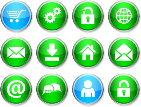 web set of round glossy icons. Stock Vector - 7358482