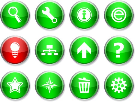 web set of round glossy icons. Stock Vector - 7358481