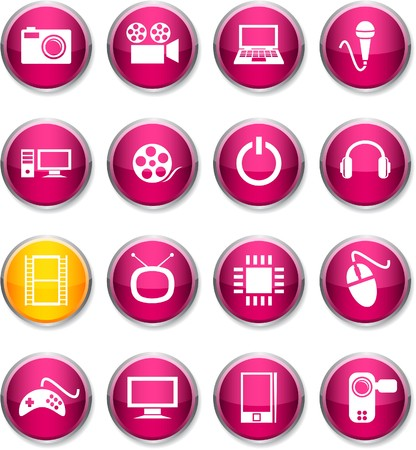 Multimedia set of round glossy icons. Stock Vector - 7385304