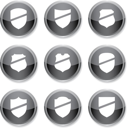 Shield set of round glossy icons. Stock Vector - 7385265
