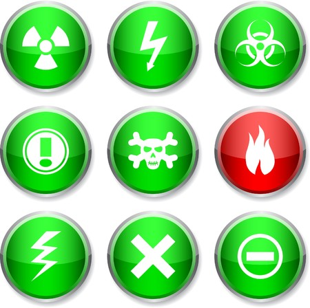Warning set of round glossy icons.  Vector