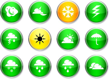 Weather set of round glossy icons. Stock Vector - 7385300