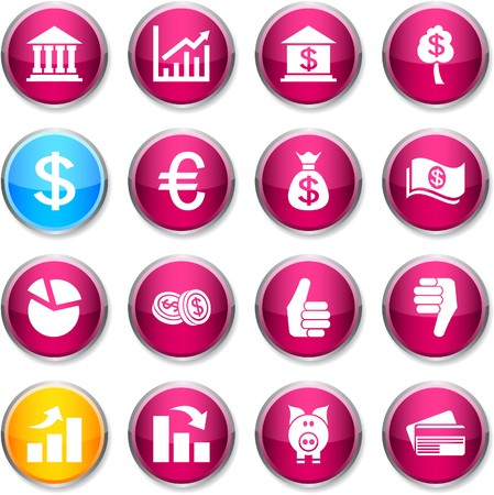 money button: Money set of round glossy icons.