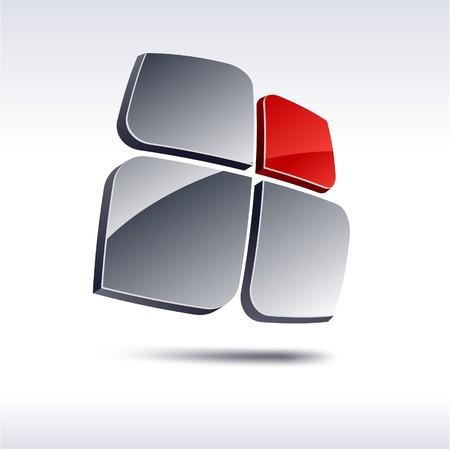 Abstract modern 3d logo Stock Vector - 7385263