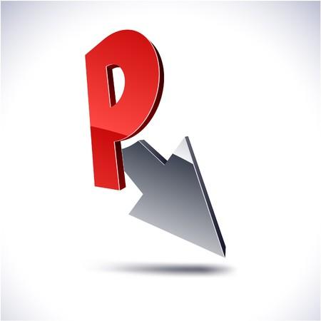 Abstract modern 3d R logo Vector