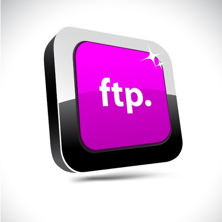ftp: FTP metallic 3d vibrant square icon.