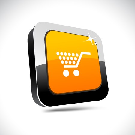 chrome cart: Shopping metallic 3d vibrant square icon.