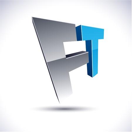 Abstract modern 3d FT logo
