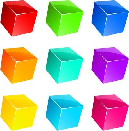 objetos cuadrados: Conjunto de vibrantes cubos 3D brillantes.