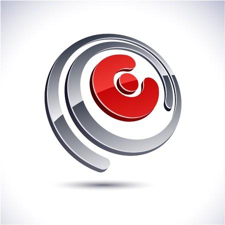 protuberant:   illustration of 3D E symbol.