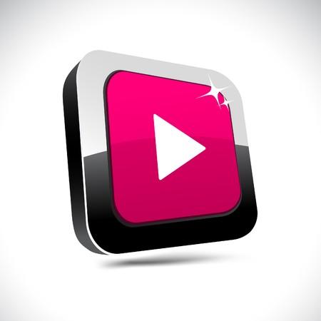 Play metallic 3d vibrant square icon.  Vector