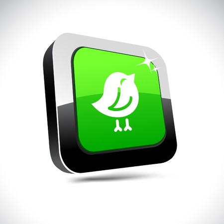 chirp: Bird metallic 3d vibrant square icon.