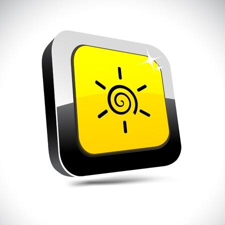 metallic  sun: Sun metallic 3d vibrant square icon.