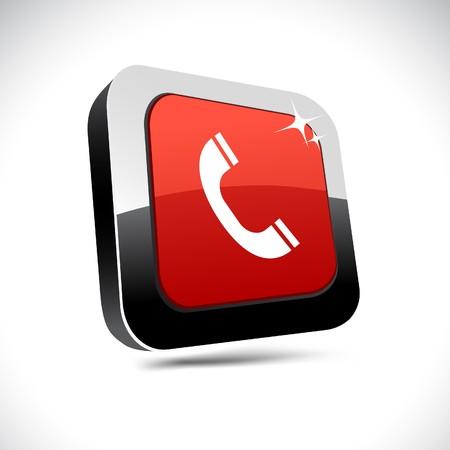 Telephone metallic 3d vibrant square icon. Stock Vector - 7426164
