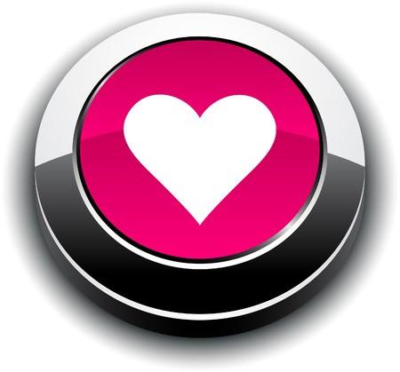 chrome: Love  metallic 3d vibrant round icon.