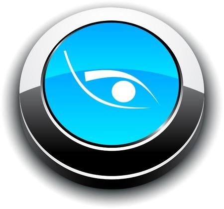 Eye  metallic 3d vibrant round icon.  Stock Vector - 7459141
