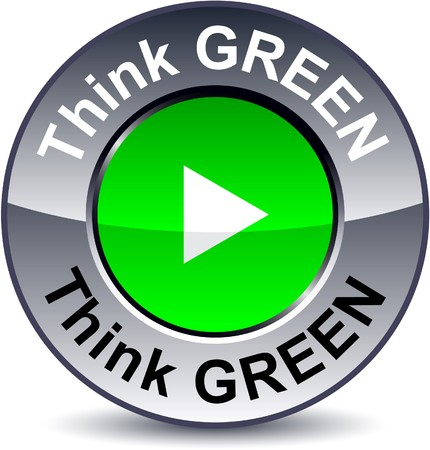 think green: Pensar en verde ronda bot�n met�lico.