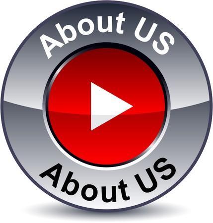 About us round metallic button.