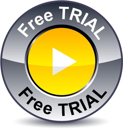 trials:   Free trial round metallic button.