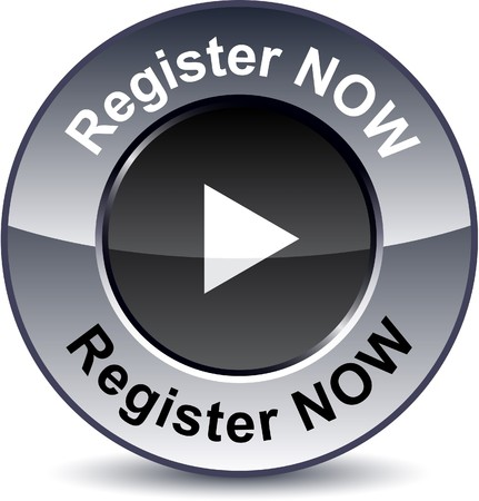 metallic button:  Register now round metallic button