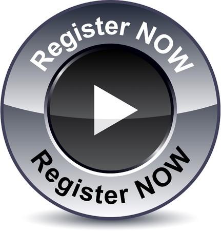 register button:  Register now round metallic button