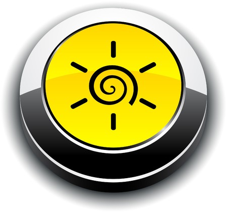 metallic  sun: Sun metallic 3d vibrant round icon.