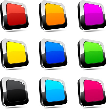 Blank 3d rectangular buttons. Stock Vector - 7509392