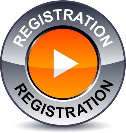 Registration round metallic button.  Vector